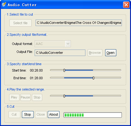 Audio cutter for Ease Audio Converter Screenshot
