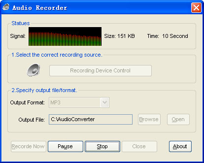 Audio recorder for Ease Audio Converter Screenshot